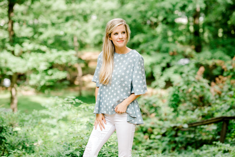 flare sleeve top in soft blue - epiphany boutiques