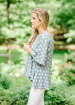 flare sleeve top with dot detail - epiphany boutiques