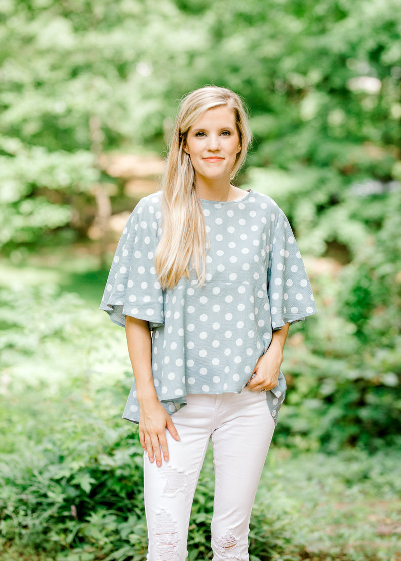 top with cream dots - epiphany boutiques