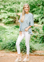 soft blue top with cream dots - epiphany boutiques