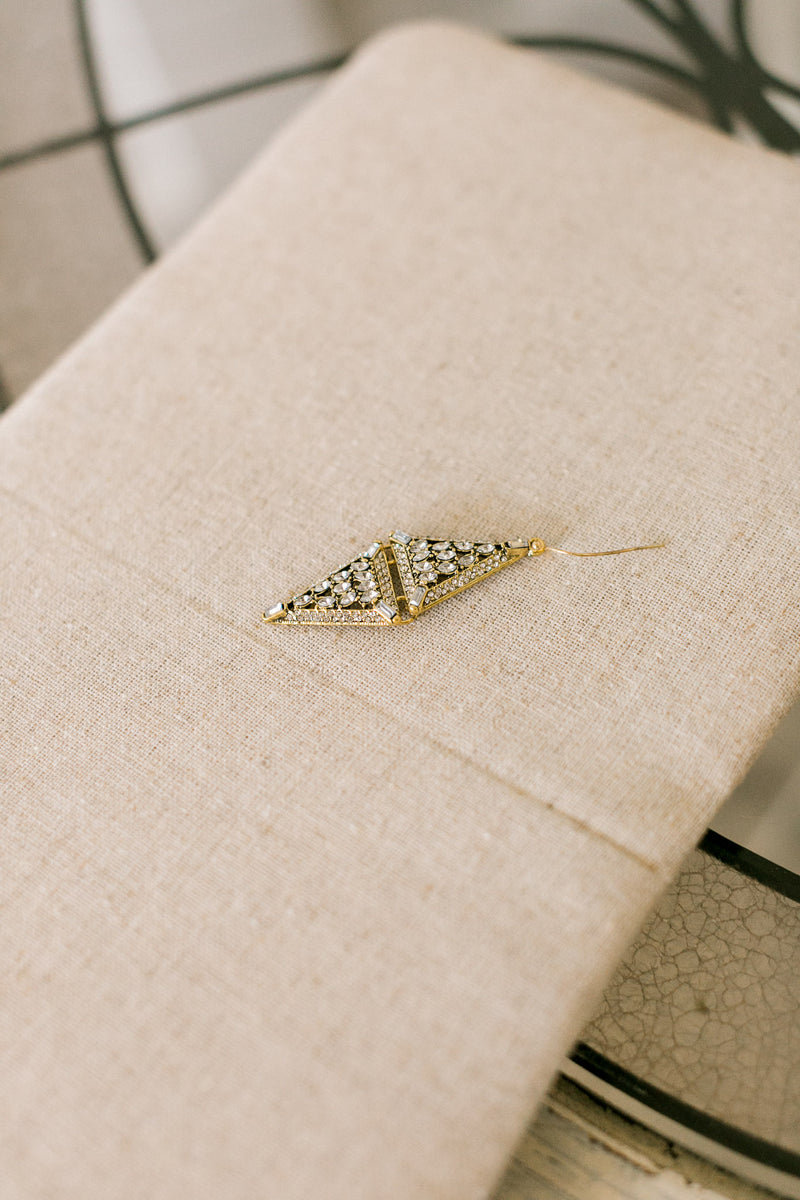 Double Pyramid Crystal Earrings