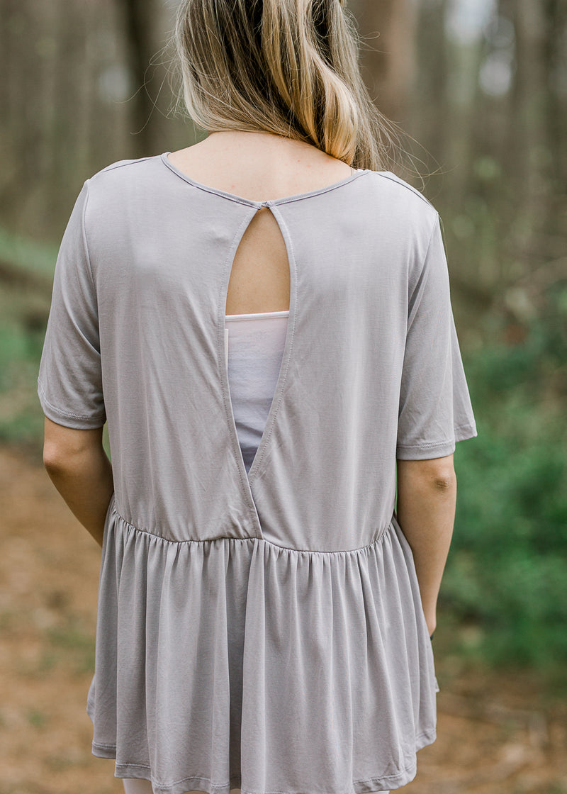 open back grey peplum top - epiphany boutiques
