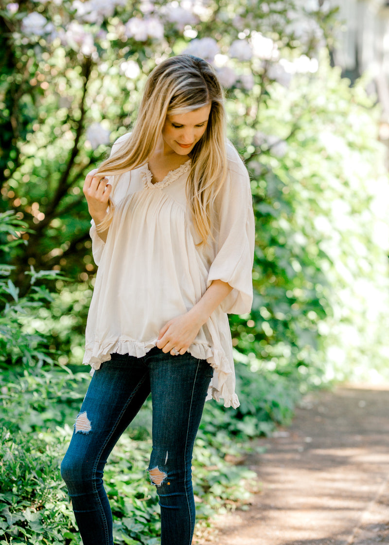 cream unfinished ruffles top - epiphany boutiques