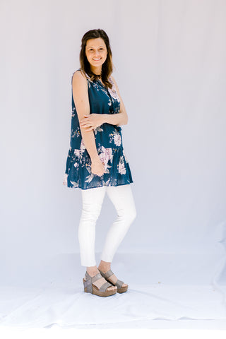 blue background tunic with floral - epiphany boutiques