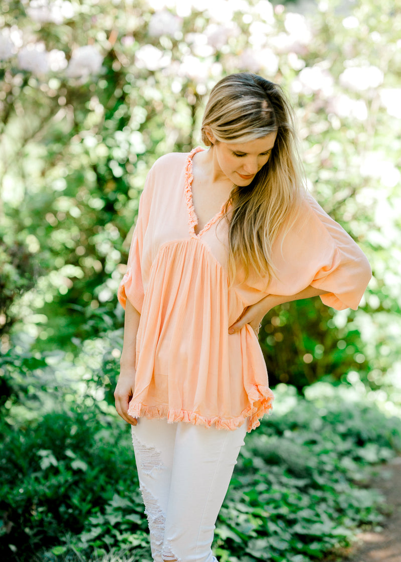 soft coral top with v neck - epiphany boutiques