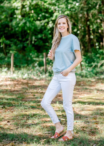 dusty blue striped top - epiphany boutiques