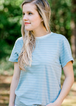 dusty blue and cream striped top - epiphany boutiques
