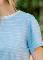 short sleeve top with stripes - epiphany boutiques