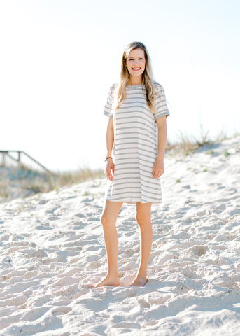 gray and white dress -  epiphany boutiques