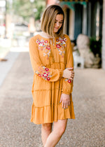 mustard embroidered dress - epiphany boutiques