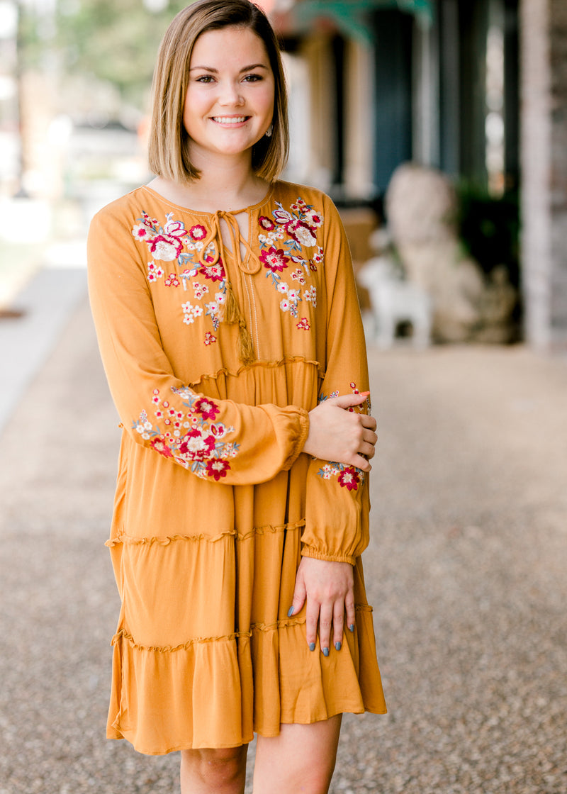 mustard dress with tassels - epiphany boutiques