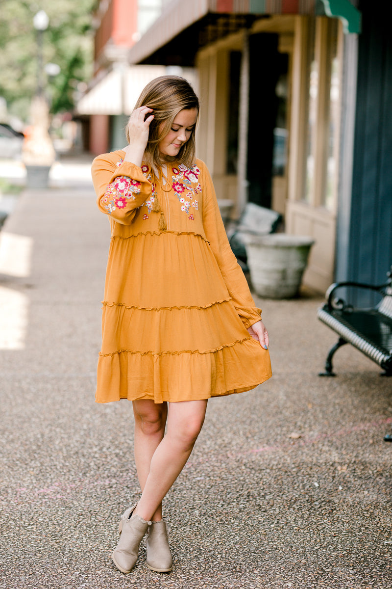 tiered mustard dress - epiphany boutiques