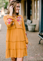 embroidered dress in mustard - epiphany boutiques