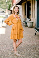 mustard dress - epiphany boutiques