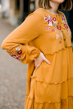mustard tiered dress - epiphany boutiques
