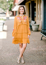 mustard dress tiered with ruffles - epiphany boutiques