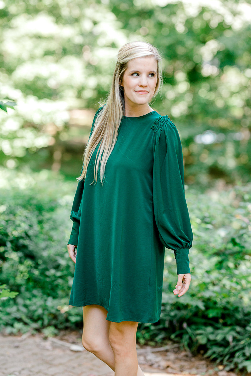 ruffle sleeve dress in emerald -  epiphany boutiques