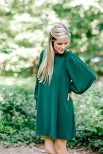 emerald green knee length dress -  epiphany boutiques