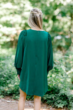 emerald green dress back view -  epiphany boutiques