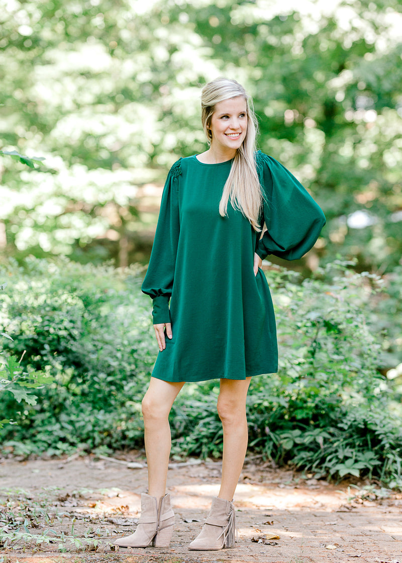 emerald green dress -  epiphany boutiques