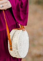 painted straw white crossbody - epiphany boutiques