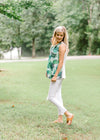 pleated top with fern print - epiphany boutiques