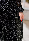black dress with white dots - epiphany boutiques