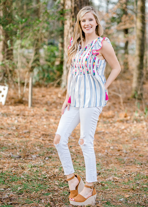blue and white stripe top - epiphany boutiques