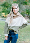 color block sweater with cowl neck - epiphany boutiques