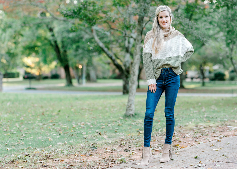 sage cream and coffee color block sweater - epiphany boutiques