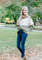 model wearing a long sleeve cowl neck sweater - epiphany boutiques