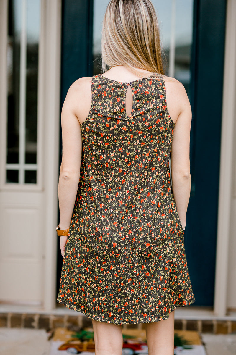 floral dress with key hole - epiphany boutiques