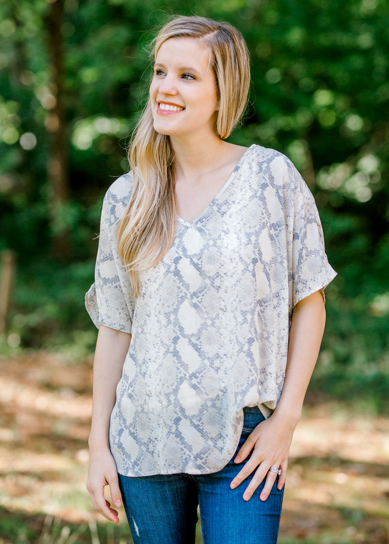faded short sleeve snakeskin top - epiphany boutiques