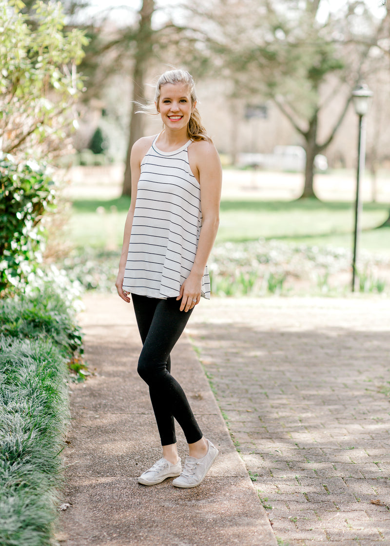 racer back tank top with stripes - epiphany boutiques