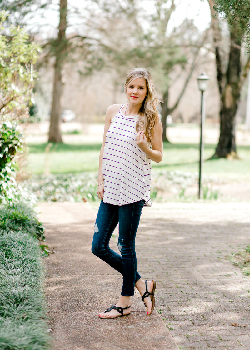 sleeveless tank with stripes - epiphany boutiques