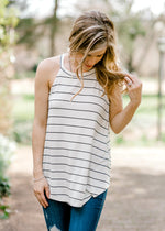racer back tank with stripes - epiphany boutiques