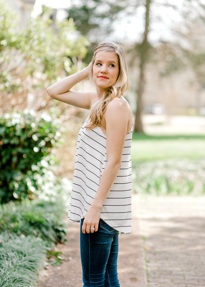 white and black striped top - epiphany boutiques
