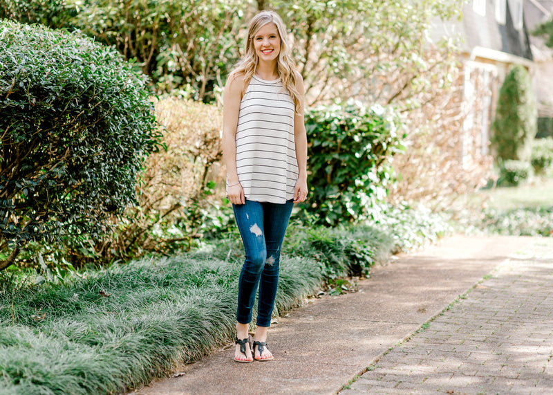 white and black striped sleeveless top - epiphany boutiques