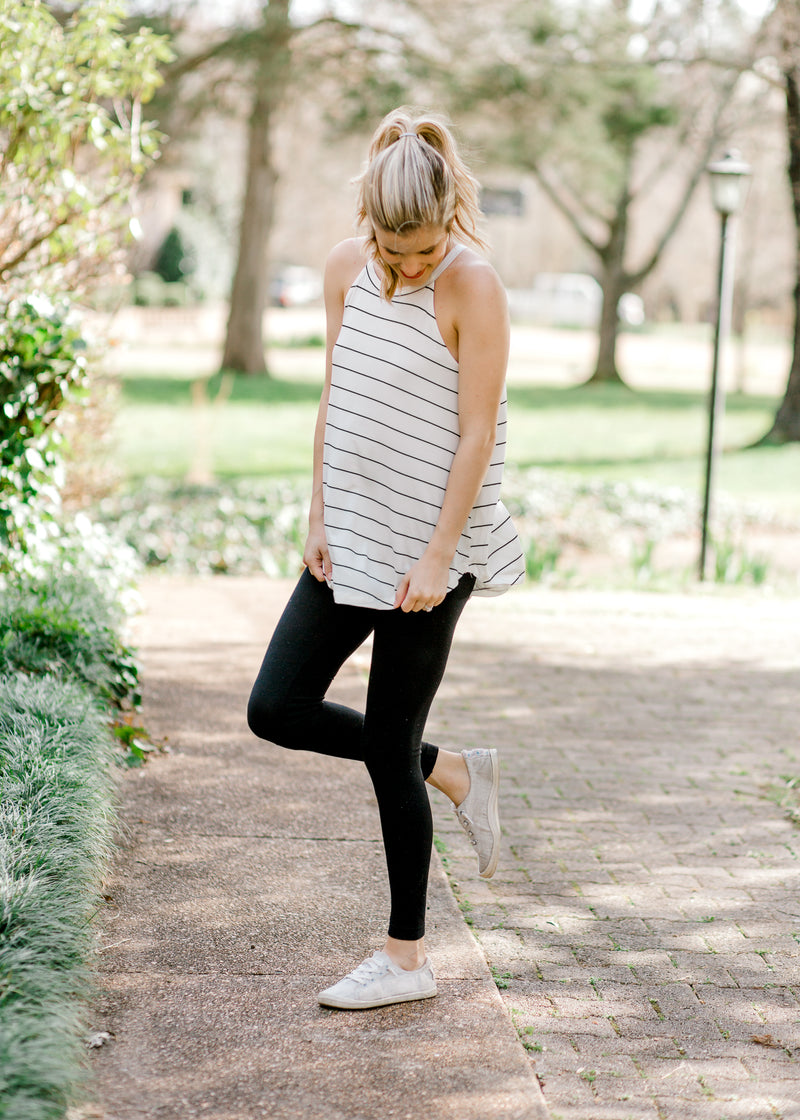 black and white racer tank - epiphany boutiques