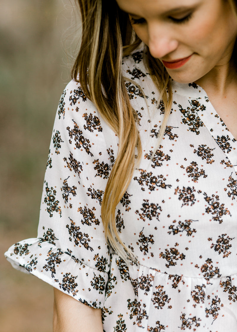 white top with bouquets printed on - epiphany boutiques