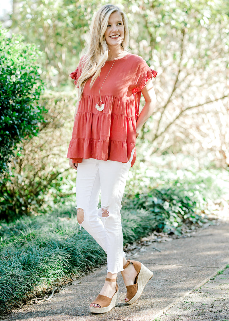 tiered top in ginger - epiphany boutiques