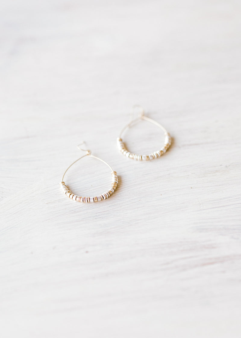 X Silver + Gold Teardrop Earrings