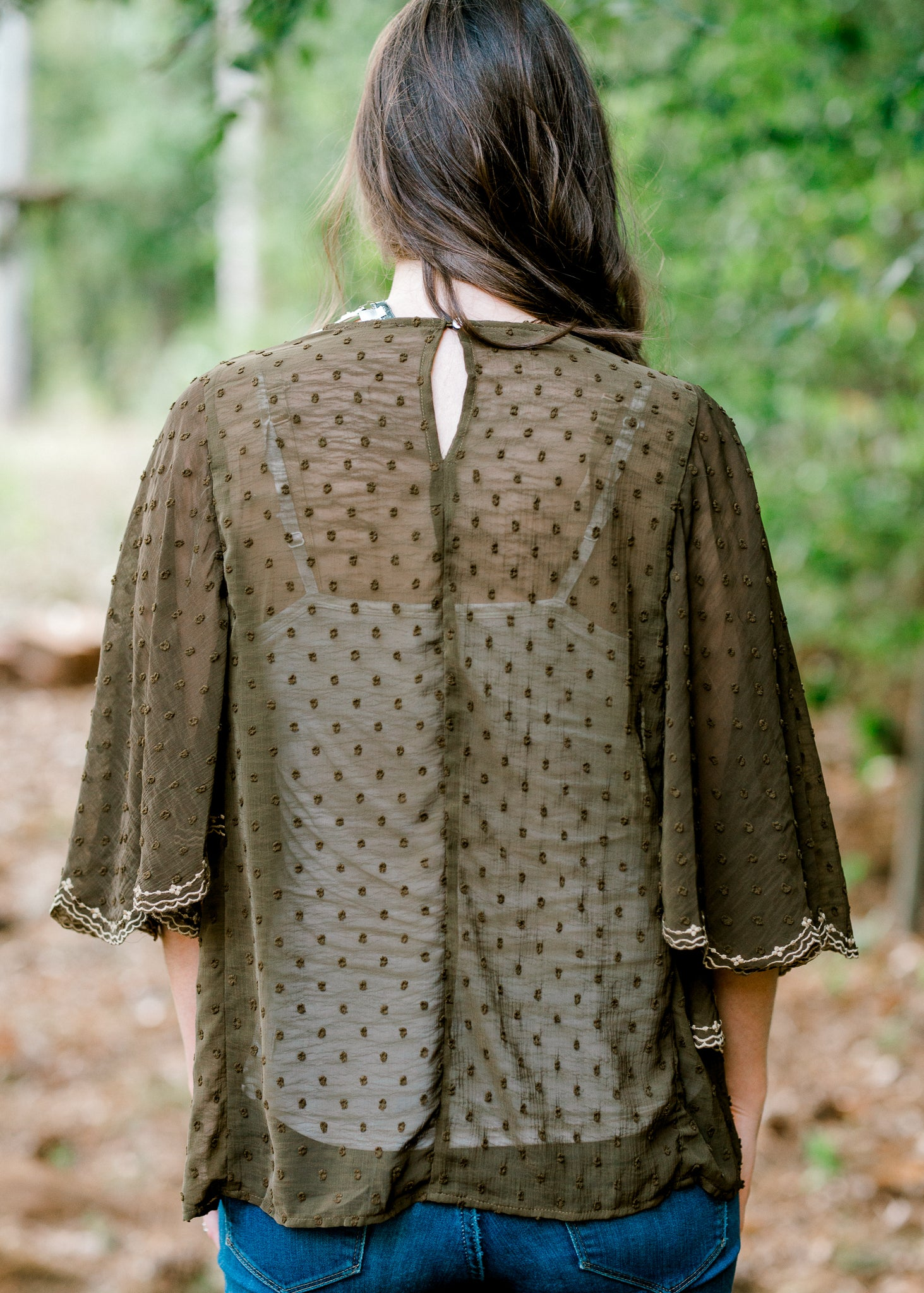 Good Days Olive Embroidered Top