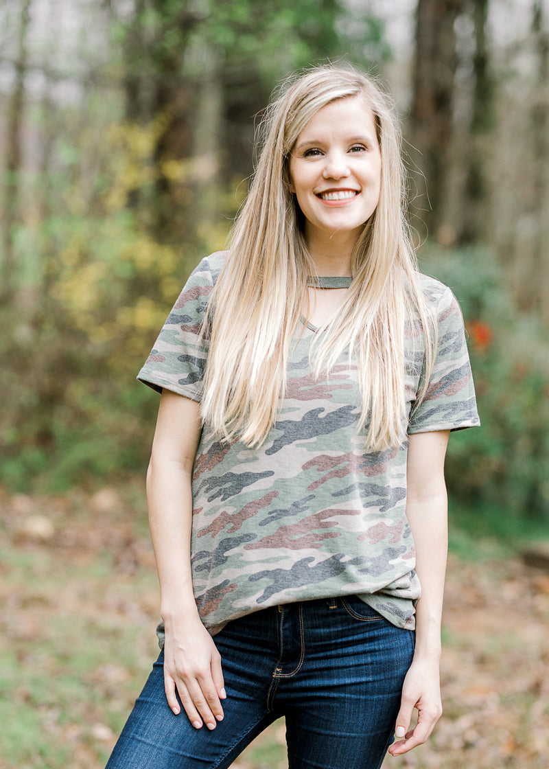camo cut out top - epiphany boutiques