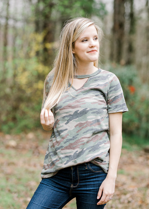 camo printed top - epiphany boutiques