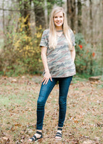 model in camo tee - epiphany boutiques