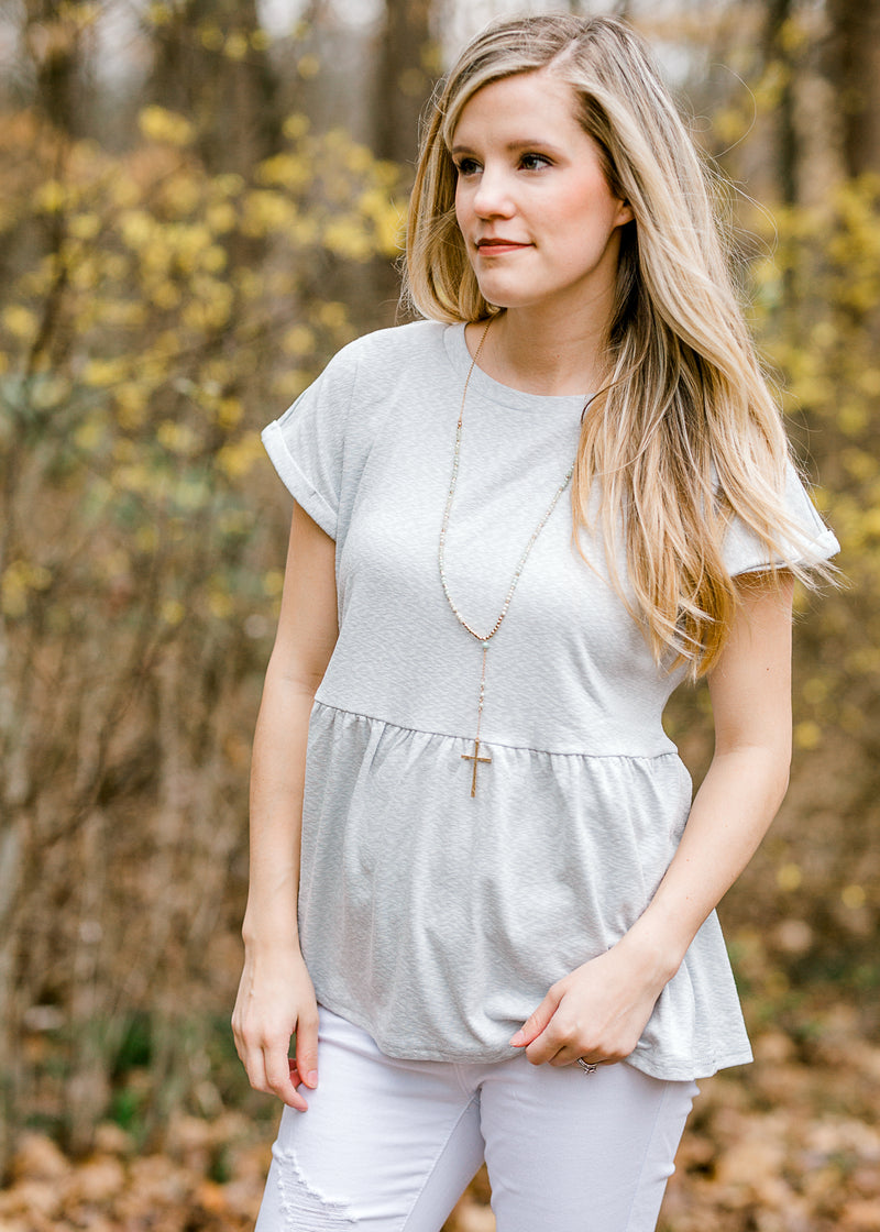 peplum top with cuffed sleeves - epiphany boutiques