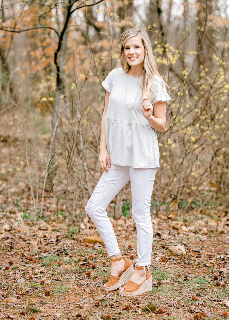 heather grey peplum top - epiphany boutiques