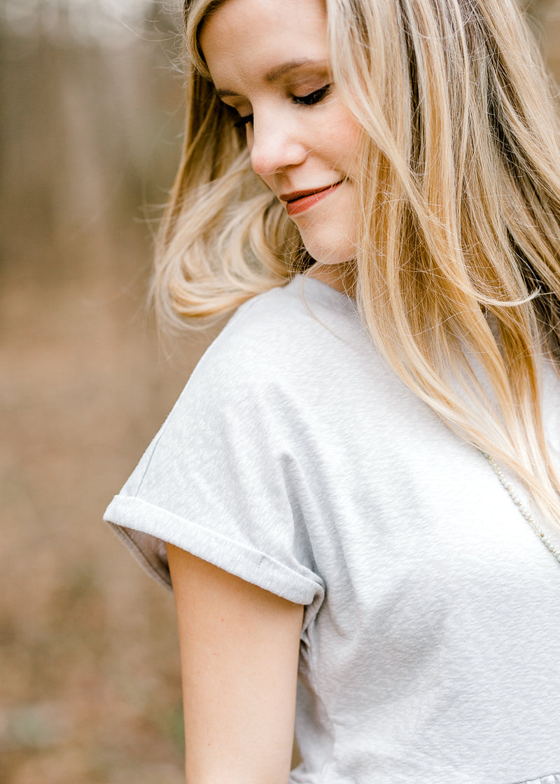 heathered grey top - epiphany boutiques