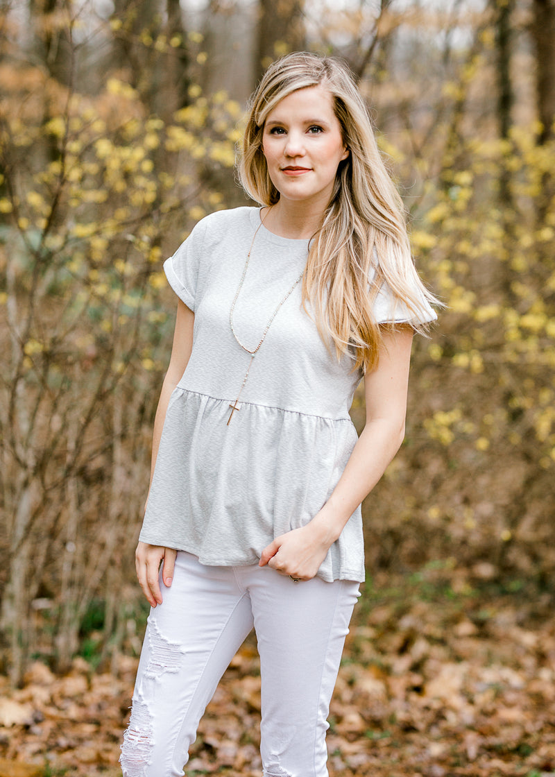 short sleeve peplum top in grey - epiphany boutiques